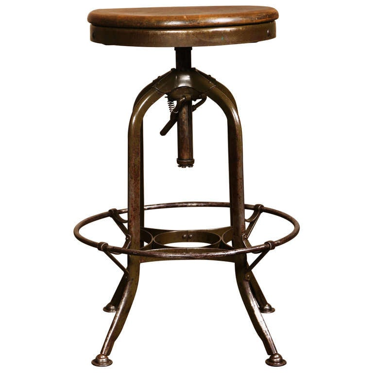 Vintage Industrial Adjustable Toledo Stool At 1stdibs