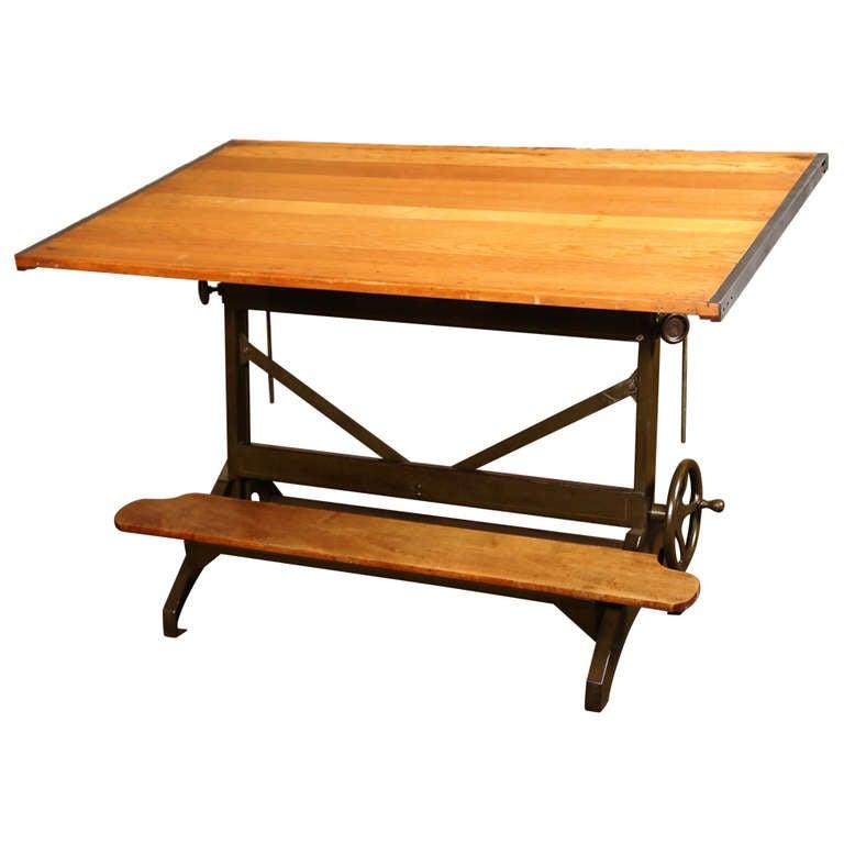 vintage industrial drafting table at 1stdibs