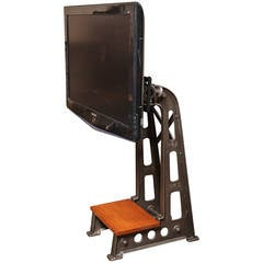 Vintage Industrial Cast Iron T.V. Stand