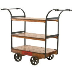 Vintage Industrial Wood, Metal Rolling Display Storage Retail Clothing Cart Rack