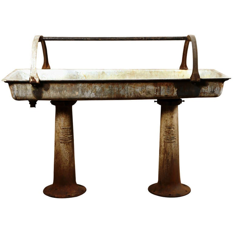 Vintage Industrial Cast Iron Double Pedestal Sink For Sale