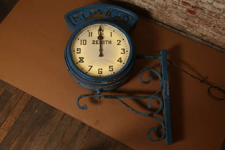 "Vintage Industrial, Illuminating Zenith Wall Clock ""Bernard"" 2"