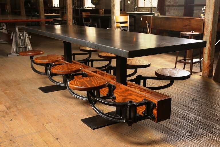 Metal Eight Seat Communal Steel Top Dining Table with Cast Iron Attached Swing Seats For Sale