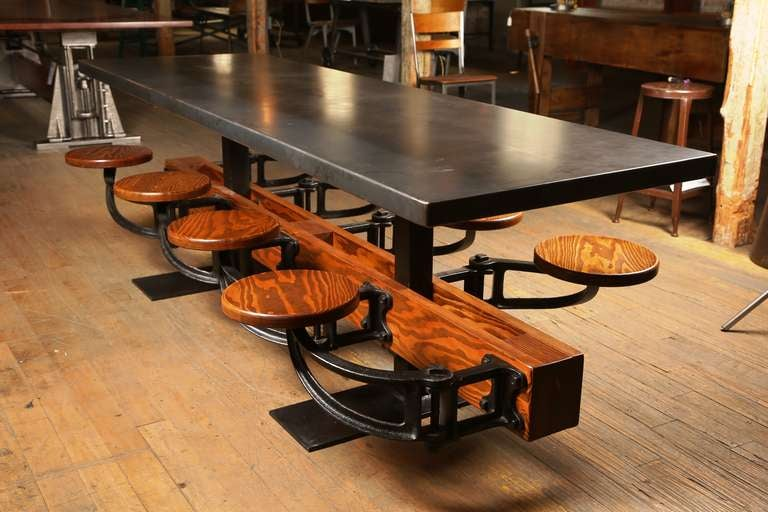 Eight Seat Communal Steel Top Dining Table with Cast Iron Attached Swing Seats For Sale 3