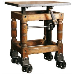 Vintage Industrial, Adjustable Wood & Cast Iron Turtle Table