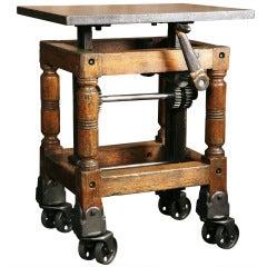Vintage Industrial, Adjustable Wood & Cast Iron Turtle Table