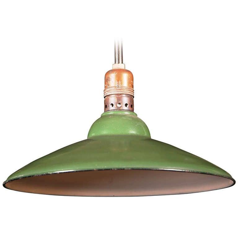 Vintage Industrial Benjamin Green Porcelain Light At 1stdibs