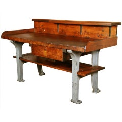 Vintage Industrial Rustic Wood & Cast Iron Work Bench - Table - Desk
