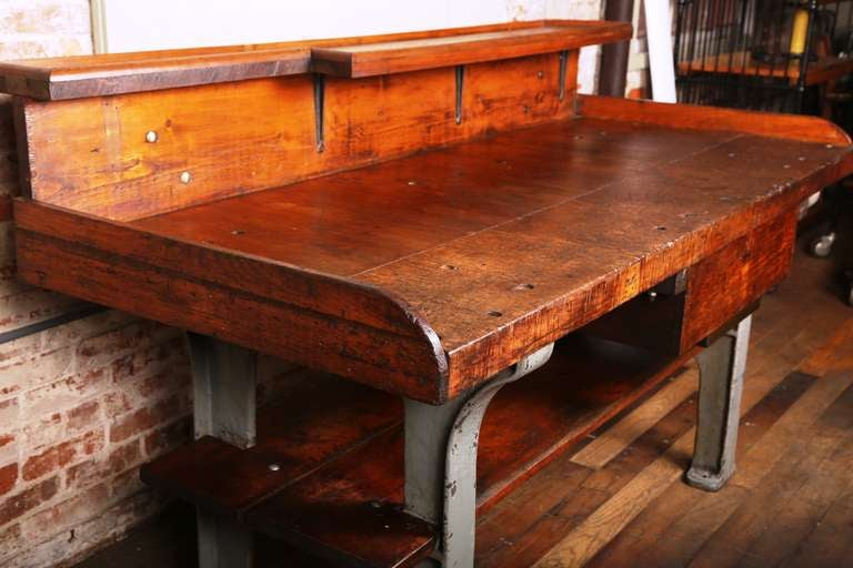 American Vintage Industrial Rustic Wood & Cast Iron Work Bench - Table -  Desk For Sale - Vintage Industrial Rustic Wood And Cast Iron Work Bench - Table
