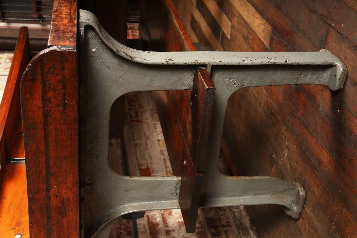 Vintage Industrial Rustic Wood And Cast Iron Work Bench