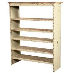 Vintage Industrial, Adjustable Metal Shelves with Wooden Top