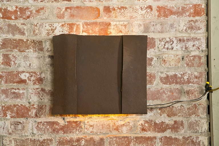 20th Century Sculptural Steel Wall Art Sconce Lamp, Light For Sale