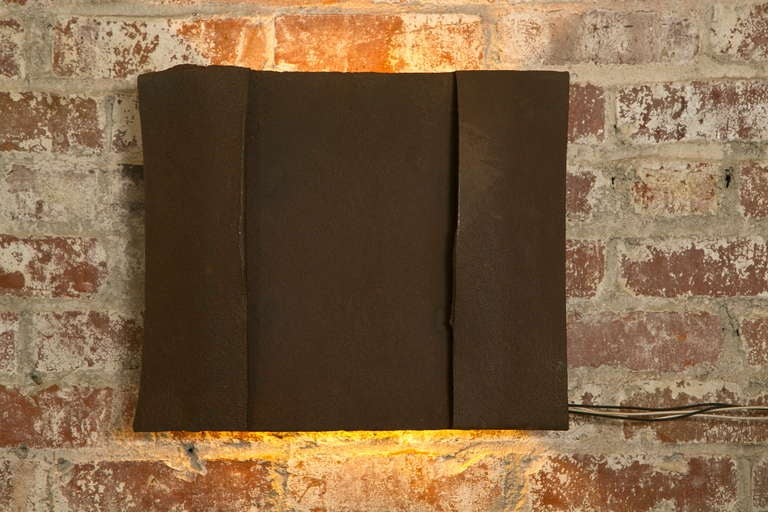 Sculptural Steel Wall Art Sconce Lamp, Light For Sale 1