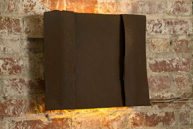Sculptural Steel Wall Art Sconce Lamp, Light For Sale 4