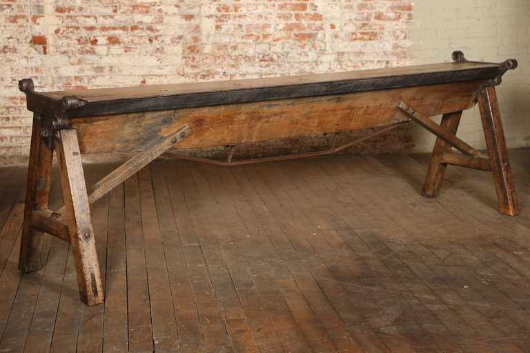 Rustic Antique Industrial Cast Iron, Steel and Wood Factory Brake Table, Stand 10