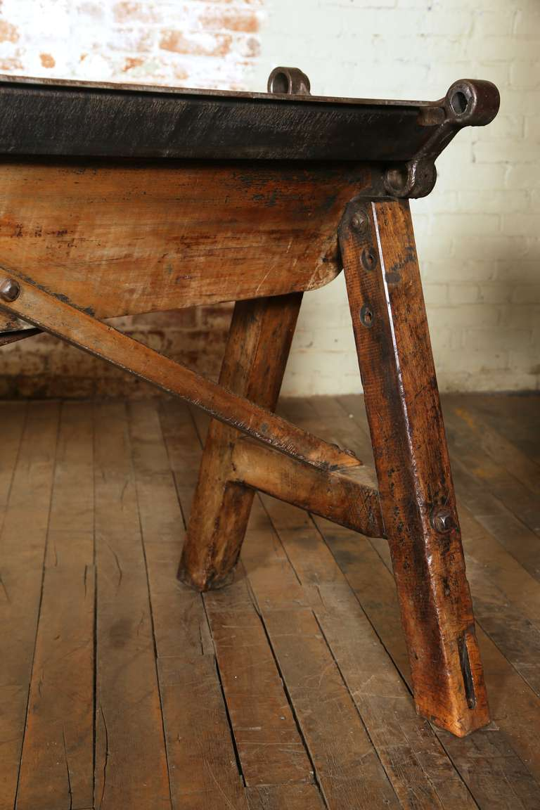 Rustic Antique Industrial Cast Iron, Steel and Wood Factory Brake Table, Stand 9