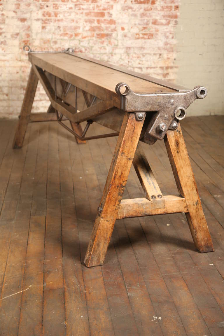 Rustic Antique Industrial Cast Iron, Steel And Wood Factory Brake Table,  Stand 3