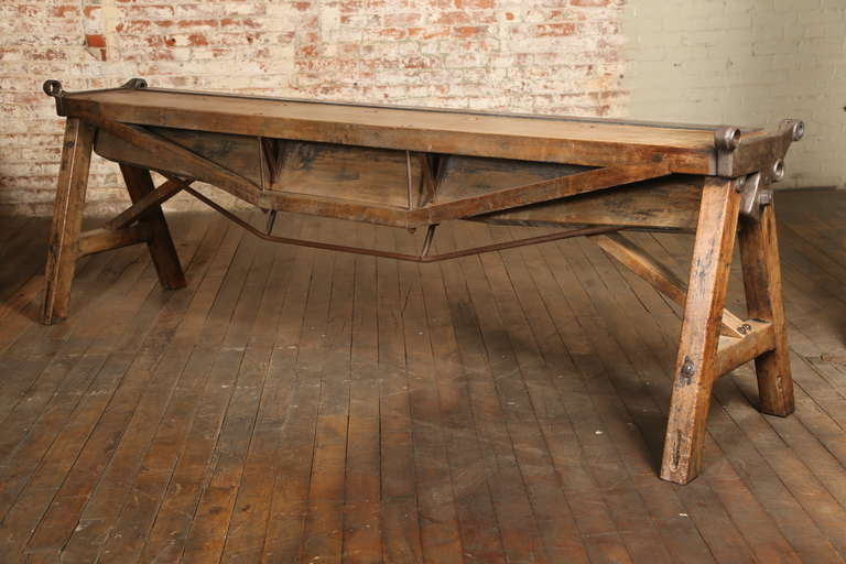 American Rustic Antique Industrial Cast Iron, Steel And Wood Factory Brake  Table, Stand For