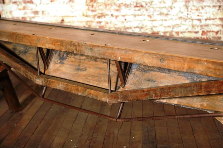 Rustic Antique Industrial Cast Iron, Steel and Wood Factory Brake Table, Stand 5