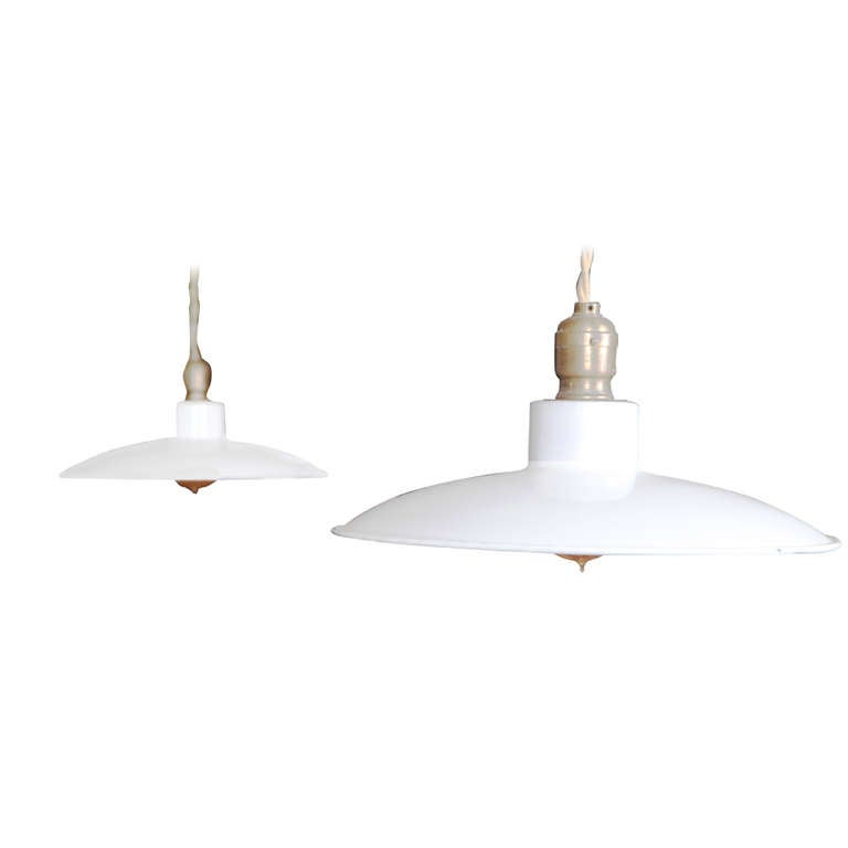 Pair of Vintage Industrial, Modern Enamel Hanging Pendant Ceiling Lamps, Lights For Sale