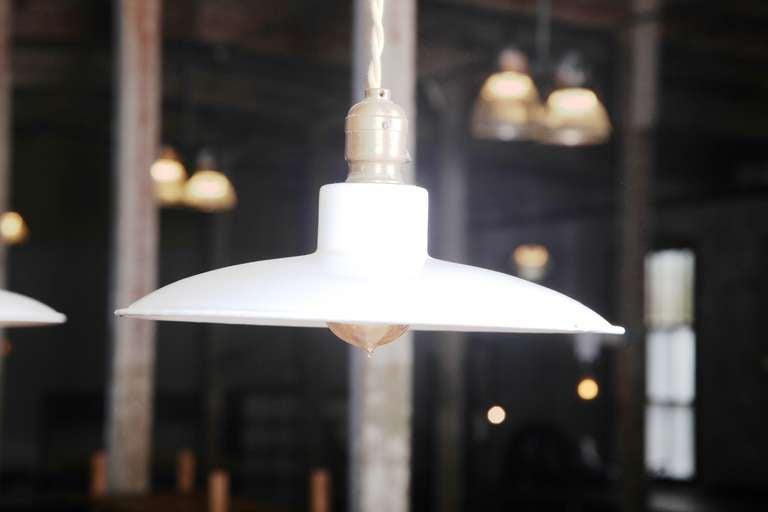 Pair of Vintage Industrial, Modern Enamel Hanging Pendant Ceiling Lamps, Lights For Sale 2