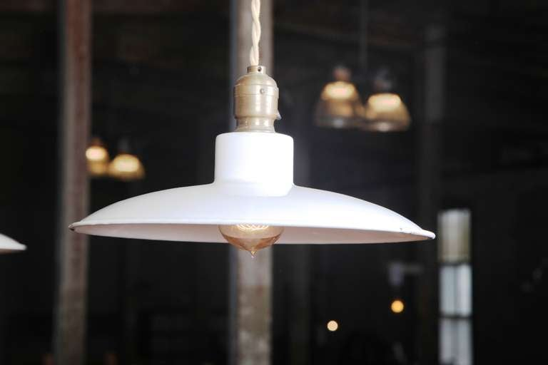 American Pair of Vintage Industrial, Modern Enamel Hanging Pendant Ceiling Lamps, Lights For Sale