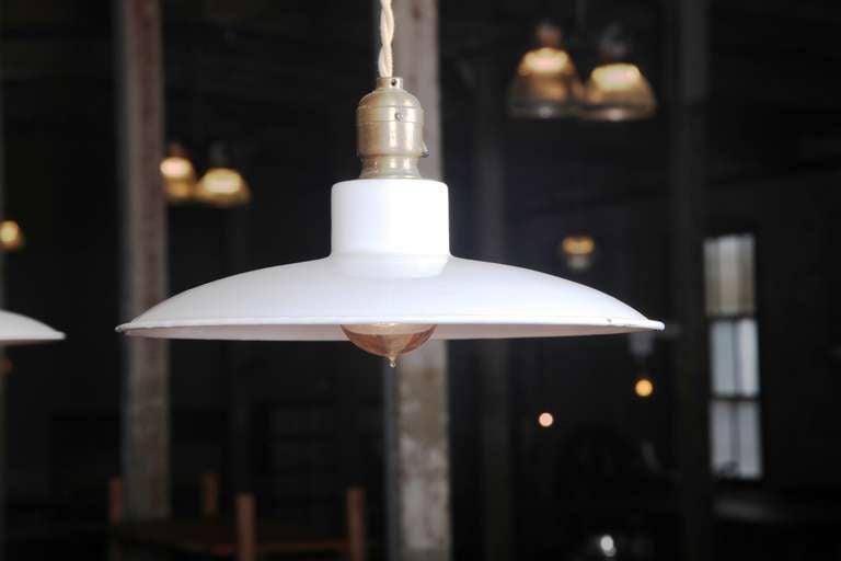 Pair of Vintage Industrial, Modern Enamel Hanging Pendant Ceiling Lamps, Lights For Sale 1