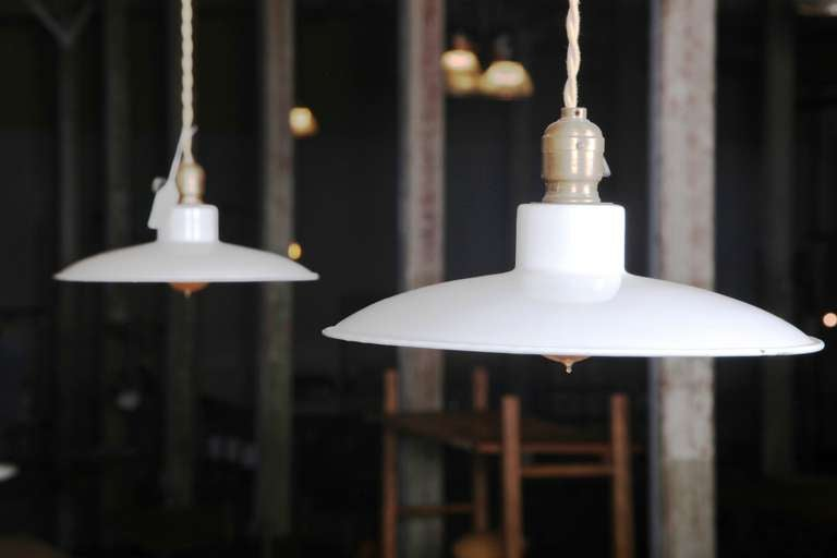 Pair of Industrial Vintage, Mid-Century Modern, White Enamel Pendant, Hanging Ceiling Lights, Lamps. Wired and Ready to go with Edison Bulbs. Free Local Pickup at our Oakville, Connecticut Showroom. Open Everyday by Appointment.