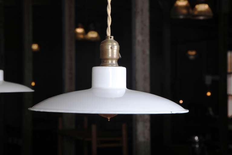 Mid-Century Modern Pair of Vintage Industrial, Modern Enamel Hanging Pendant Ceiling Lamps, Lights For Sale