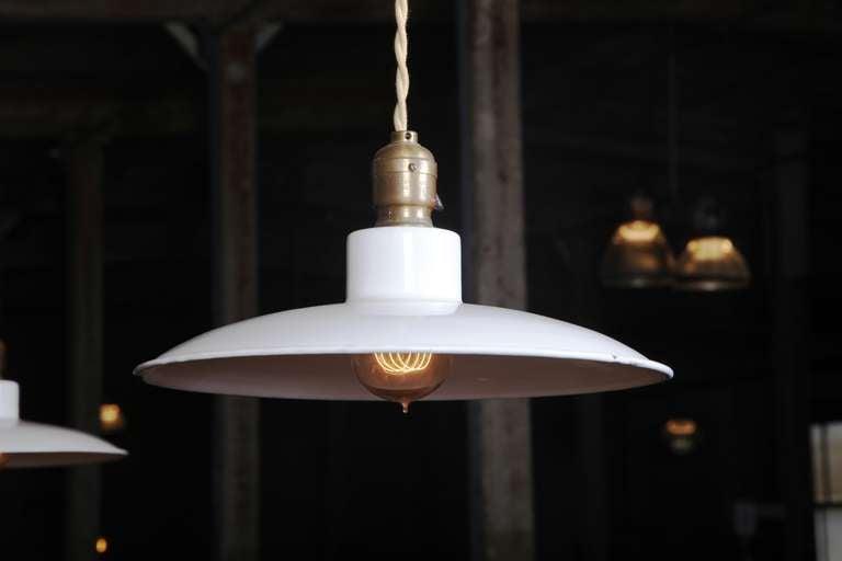 Glass Pair of Vintage Industrial, Modern Enamel Hanging Pendant Ceiling Lamps, Lights For Sale