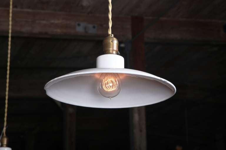 20th Century Pair of Vintage Industrial, Modern Enamel Hanging Pendant Ceiling Lamps, Lights For Sale