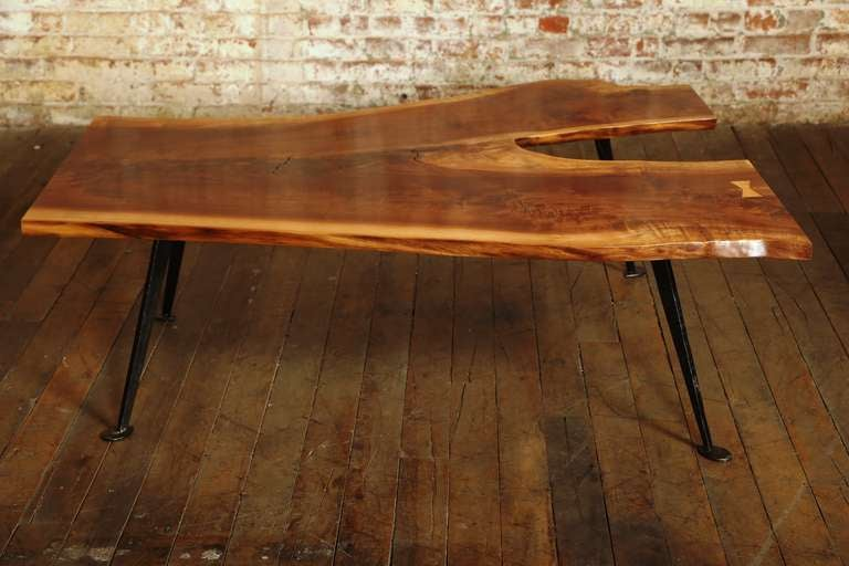 Coffee table vintage industrial free form walnut wood and for Free form wood coffee tables