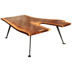 Coffee Table Vintage Industrial Free-Form Walnut Wood & Cast Iron with Maple Key