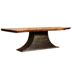 Industrial Coffee Table on Antique Cast Iron Base