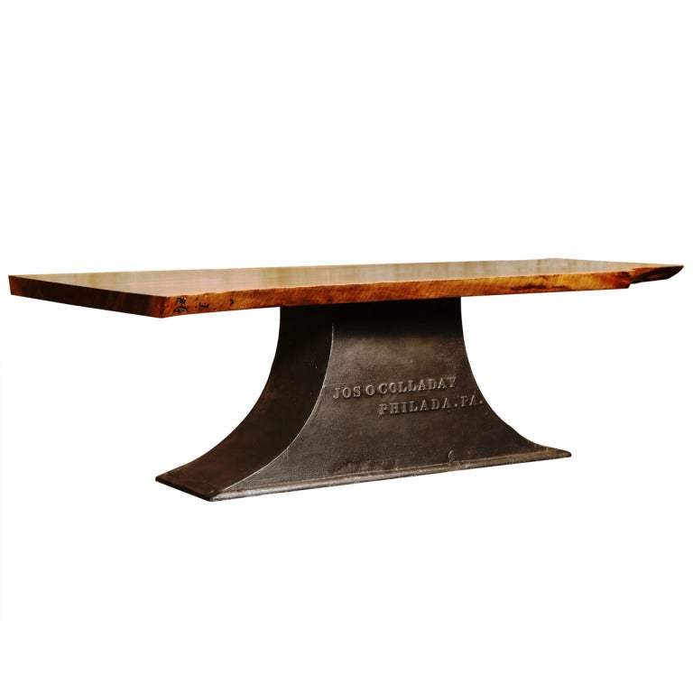 Industrial Coffee Table On Antique Cast Iron Base At 1stdibs