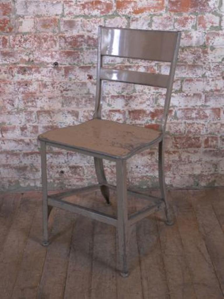 vintage industrial rustic toledo metal dining cafe side chairs 2
