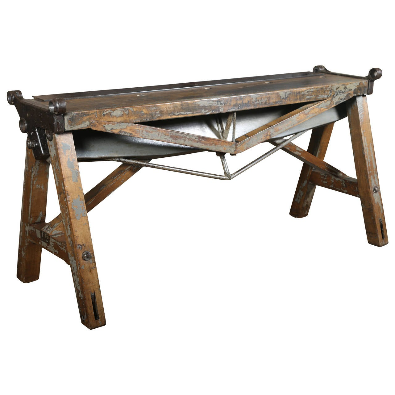 Rustic Antique Industrial Cast Iron Steel And Wood Factory Brake Table Stand For Sale At 1stdibs