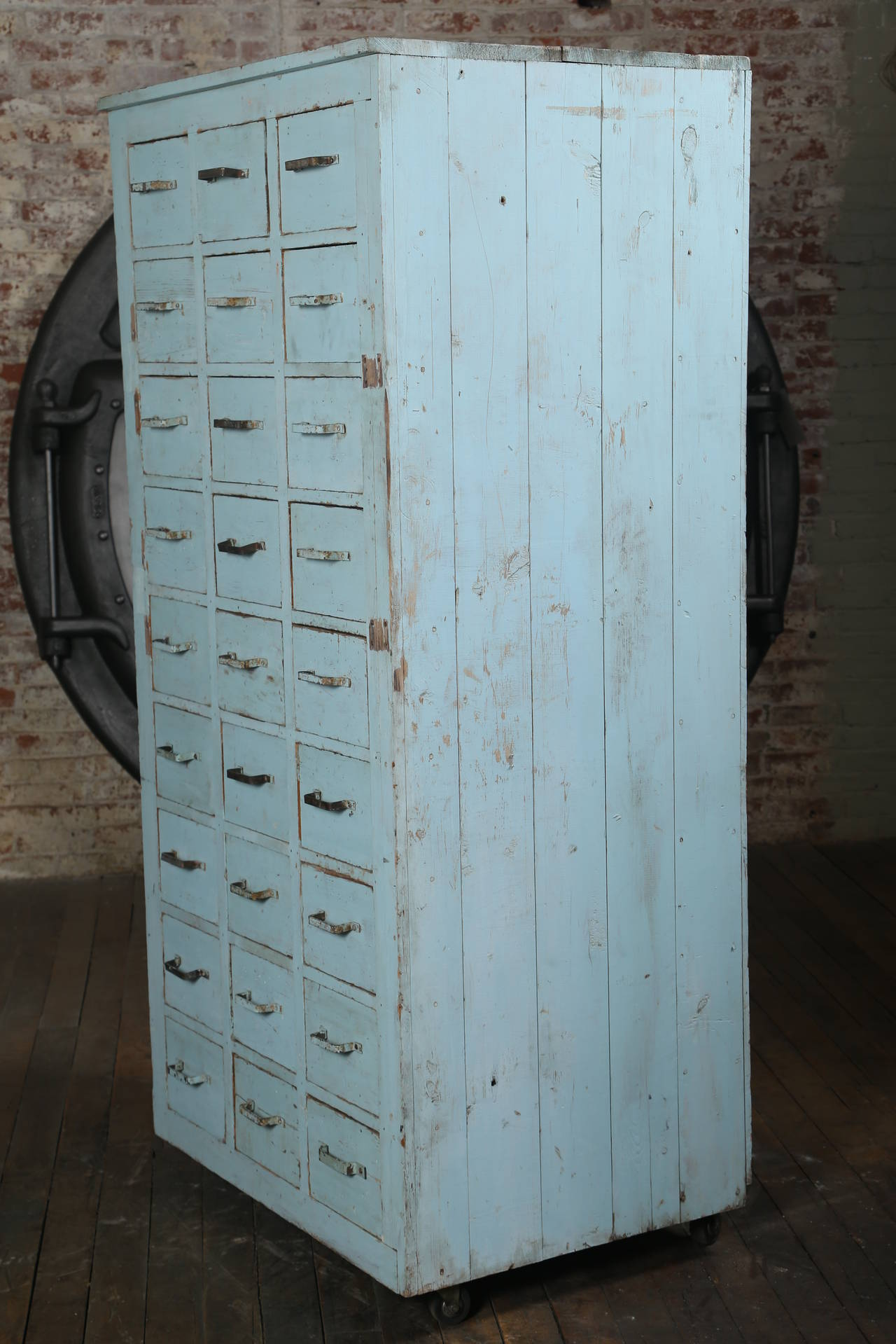 Metal Vintage Multi-Drawer Wooden Storage Rolling Apothecary Distressed Cabinet For Sale