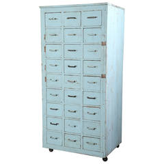 Vintage Multi-Drawer Wooden Storage Rolling Apothecary Distressed Cabinet