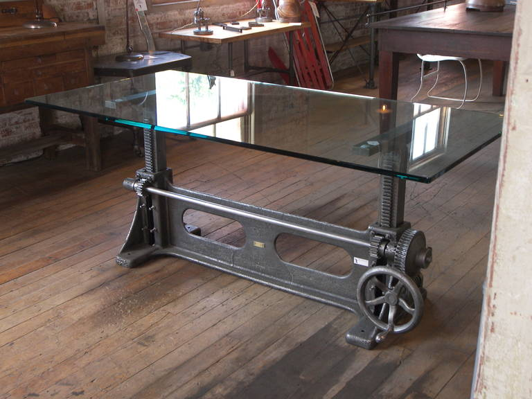 20th Century Vintage Industrial Cast Iron Adjustable Table Base For Sale