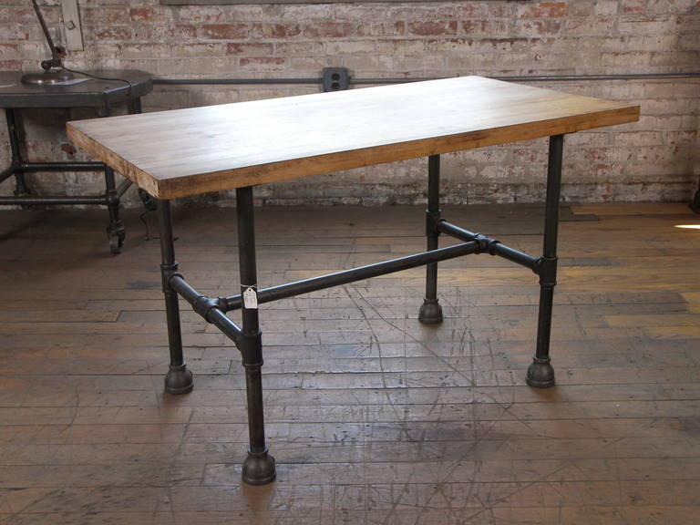 Vintage Industrial Butcher Block Pipe Table For Sale 3