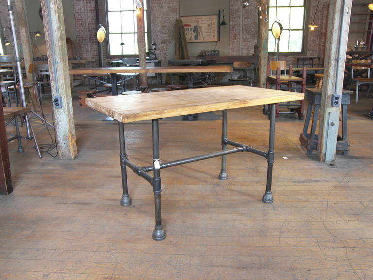 Vintage Industrial Butcher Block   Pipe Table. Top Is 1 1/2