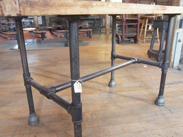 Superb Vintage Industrial Butcher Block Pipe Table In Good Condition For Sale In  Oakville, CT