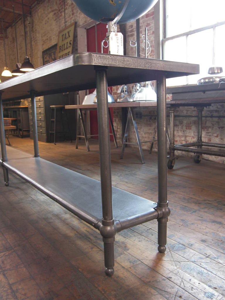 American Vintage Industrial Steel, Metal, Cast Iron Work Table, Retail  Display For Sale