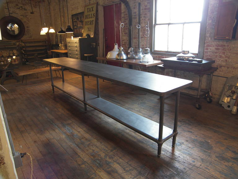 12' Ball Joint & Steel Industrial Console Table In Distressed Condition For Sale In Oakville, CT