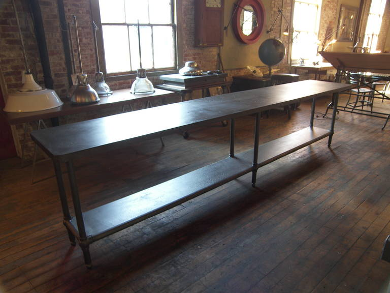 20th Century 12' Ball Joint & Steel Industrial Console Table For Sale