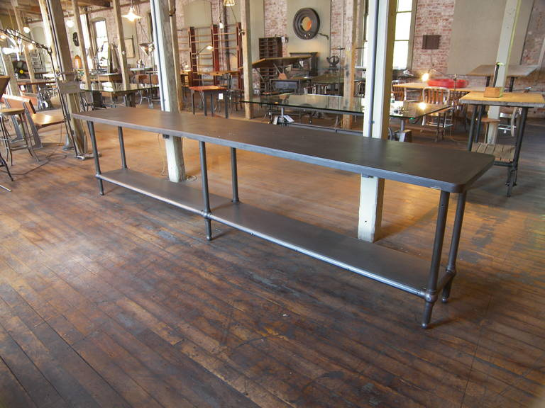 Iron 12' Ball Joint & Steel Industrial Console Table For Sale