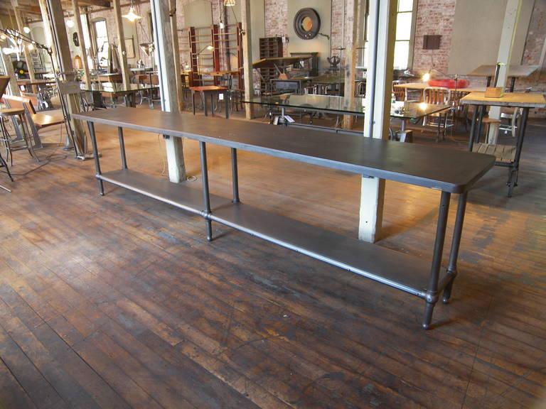 Vintage Industrial Steel Metal Cast Iron Work Table
