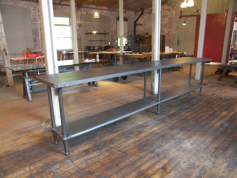 12' Ball Joint & Steel Industrial Console Table For Sale 1