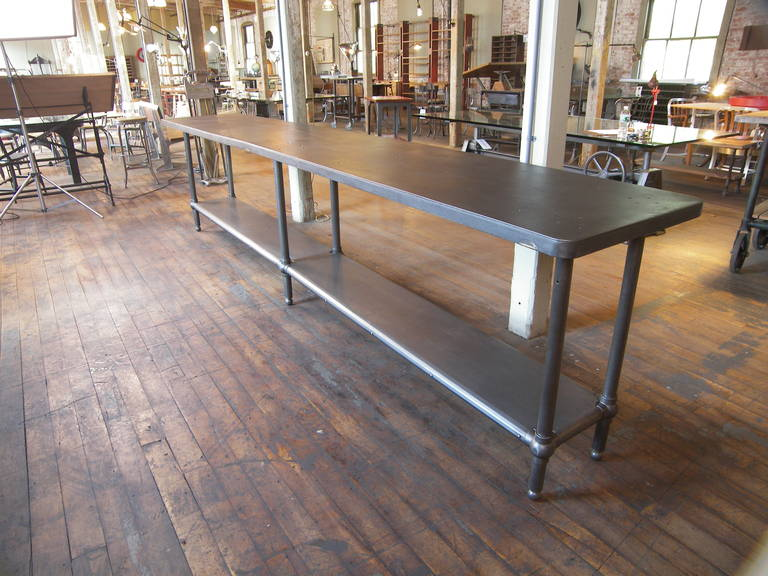 12' Ball Joint & Steel Industrial Console Table For Sale 2